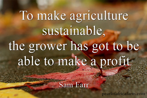To make agriculture sustainable, the grower has got to be able to make a profit